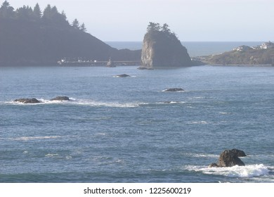 Little Trinidad Head and offshore rocks, Trinidad Bay, California, USA