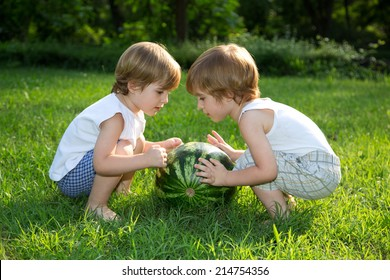 Little Twin Brothers Playing with Watermelon on Green Grass in Summer Park
