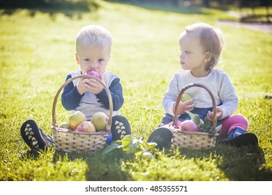 Little twins boy and girl with apples on garden