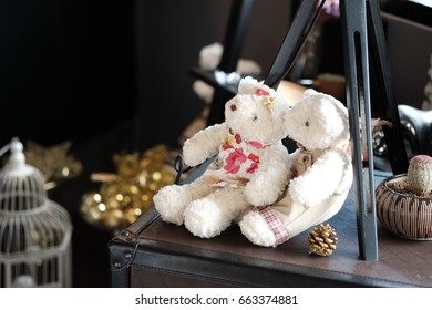 Little two bears on wooden table