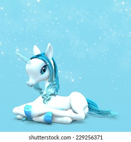 Little Unicorn - A baby unicorn with an ice blue horn lying down with magical stars behind.