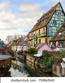 The little Venice of Colmar - is a picturesque old tourist area near  the  historic center of Colmar, Haut-Rhin,  Alsace, France.