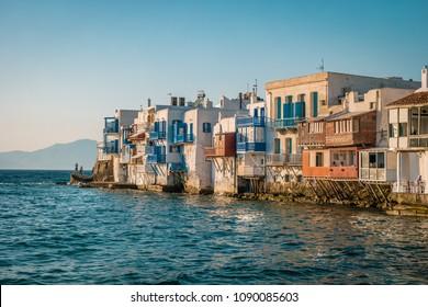 Little Venice Mykonos during sunset , Mikonos Greece April 2018