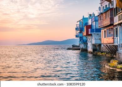 Little Venice Mykonos Greece, sunset at ocean fron at Mykonos town