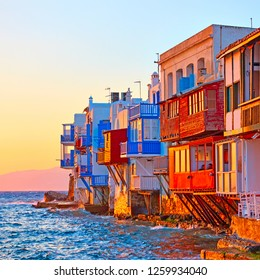 The Little Venice in Mykonos Island at sundown, Greece