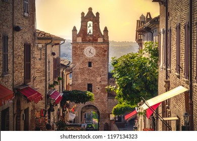 little village scene in Italy - Gradara - Pesaro province - Marche region