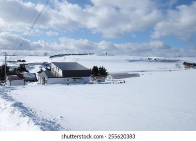 little village in winter in Furano Hokkaido