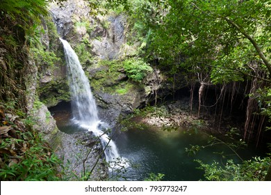A little waterfall and a cave on the Pipiwai Trail to Waimoku Falls in Maui, Hawaii.