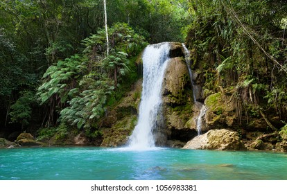 A little waterfall in the centre of tropics of Samana, Dominican Republic.