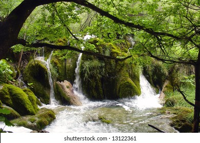 Little waterfall on Plitvice lakes in Croatia