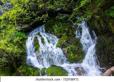 Little waterfall surrounded by huge rocks in the river flow in the forest, Italy