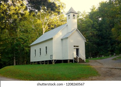 Little white church in Cades Cove in the Great Smoky Mountains.  This was an isolated mountain community that existed from the early 1800's until the park was established in the 1930's.