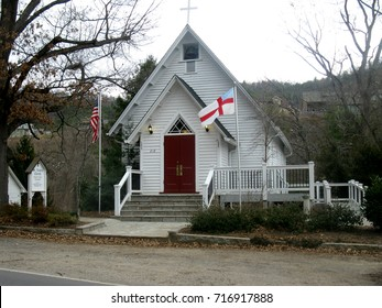 Little White Country Church with a Red Door