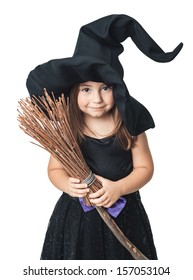 little witch with a broom on a white background