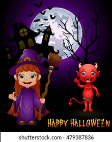 Little witch cartoon holding broom and red devil on haunted castle background