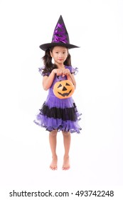 Little witch girl costume posing for halloween isolated on white backgroundHalloween costume girl posing  sc 1 st  Shutterstock & Cute Little Witch Halloween Costume Pumpkin Stock Vector (2018 ...