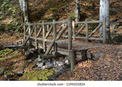 Little wooden bridge in Yedigoller (Seven Lakes) National Park in Turkey. Autumn leaves and trees