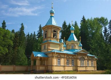 Little wooden orthodox church in Valaam island, Karelia, Russia