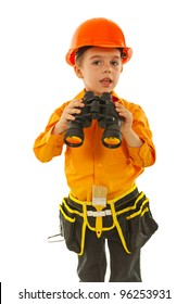 Little worker boy wearing helmet and holding binocular isolated on white background