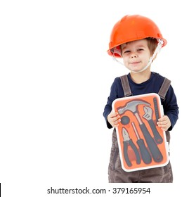 Little worker in orange helmet with tools kit isolated on white