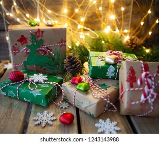 Little wrapped presents and festive lights for a Merry Christmas / Happy Holidays