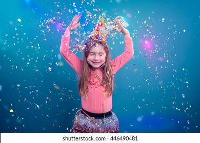 little young girl making party