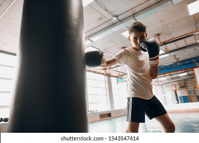 little young hardworking boxer learning to blow the punching bag at sport center, close up photo, effective training process, kid taking up a new hobby
