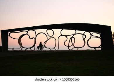 LITTLEHAMPTON ENGLAND –NOV 2 : Designed shelter where the bench curves and bends into unusual shaped seats, a favourite photo opportunity for visitors on November 2, 2015 in Littlehampton , England.