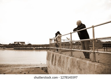 LITTLEHAMPTON, ENGLAND - OCT, 10: Tourist during feed bird among habour and ship scenery represent people and cityscape and local business on October 10, 2015 in Littlehampton West Sussex England.