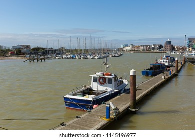 Littlehampton harbour West Sussex England UK River Arun with boats