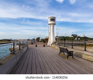 Littlehampton Lighthouse from the pier, West Sussex England UK