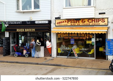 Littlehampton, UK - October 25th 2016: Traditional fish and chip shops on the sea front, selling both eat in and takeaway fish and chips
