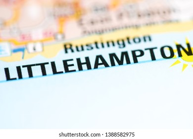 Littlehampton. United Kingdom on a geography map