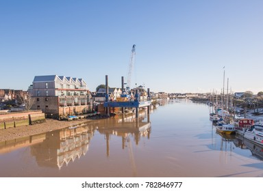 Littlehampton, West Sussex. England. December 28th 2017.  A view of the River Arun, showing the construction of the flood defence wall