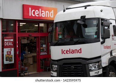 Littlehampton, West Sussex, England, June 13 2019, Iceland Store and Iceland Lorry delivering goods.