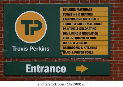 Littlehampton, West Sussex, England, June 13 2019, Travis Perkins Sign by Entrance.