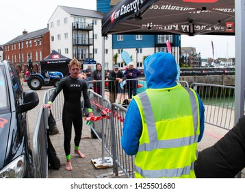 Littlehampton, West Sussex, England, June 15, 2019, River Arun swim over the classic Ironman distance of 3.8km from Ford to Littlehampton. Winner Tom Hogg.