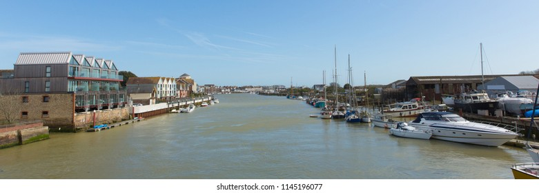 Littlehampton West Sussex England UK River Arun with boats towards the sea panoramic view