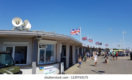 Littlehampton, West Sussex / UK - 07 15  2018: West Beach at Littlehampton on a hot sunny day
