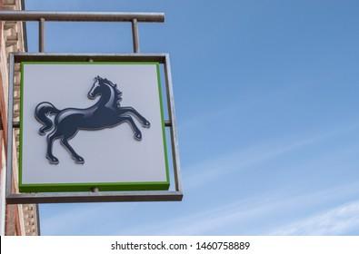 Littlehampton, West Sussex, UK, July 24, 2019, Lloyds Bank Black Horse Sign on the high street in Littlehampton.