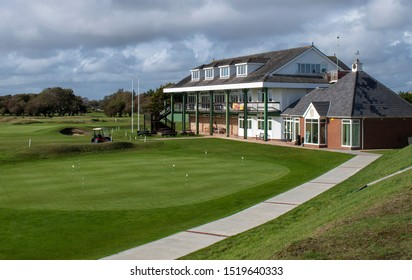 Littlehampton, West Sussex, UK, October 01, 2019, Littlehampton Golf Club House on a beautiful Autumn day with some stormy skies to the north.