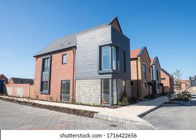 Littlehampton, West Sussex / United Kingdom - April 19th 2020 : New development of residential homes in Littlehampton. Built by Dandara Group.