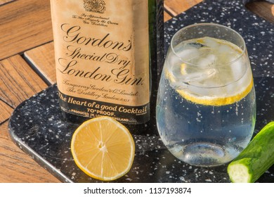 Littlehampton, WestSussex / United Kingdom -  July 18th 2018: Gin sales have doubled in value over the last six years. Sales have also grown more than any other spirit sold in the UK in the last year.