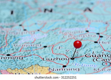 Liuzhou pinned on a map of Asia