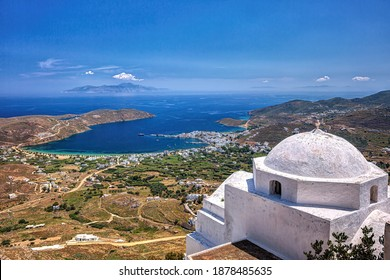 Livadi bay and port viewed from the hill of Chora in Serifos island Cyclades Greece