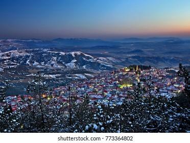 LIVADI VILLAGE, OLYMPUS MOUNTAIN, GREECE. Livadi village after sunset, Municipality of Elassona, Larisa, Thessaly.