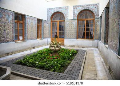 LIVADIA, CRIMEA - AUGUST 26, 2016: Beautiful courtyard of the Livadia palace, summer retreat of the last Russian tsar, Nicholas II. Crimea, on August 26, 2016.