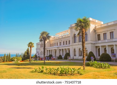 Livadia Palace - former southern residence of Russian emperors, located on Black Sea coast in village of Livadia in Yalta. Crimea, Yalta. August 24, 2009