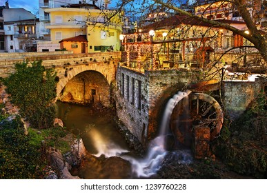 """LIVADIA TOWN, VIOTIA (""""BOEOTIA"""") GREECE- December 13, 2008. Old watermill at Krya springs, Erkyna river, a beautiful place in the old part of the town."""