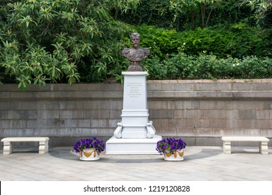 LIVADIA,Crimea, Russia - June 23, 2018: Monument to Czar Nicholas II of Russia.